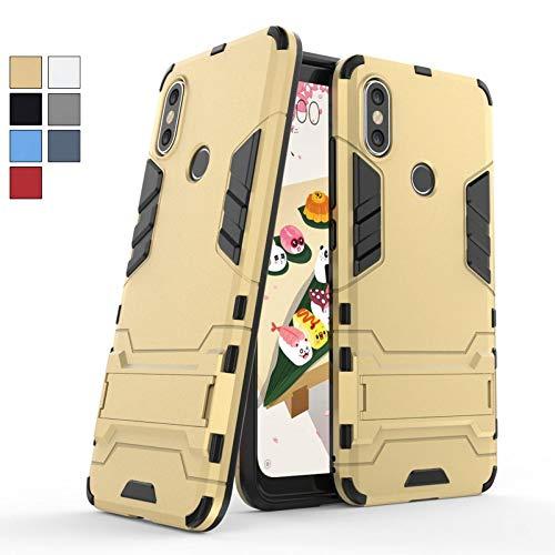 COOVY® Funda para Xiaomi Mi A2 de plástico y Silicona TPU, extrafuerte, con protección contra Golpes, Funda con función Atril | Color Oro