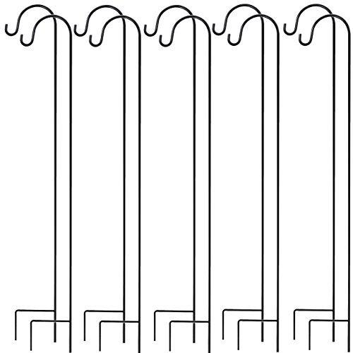 gray bunny graybunny pastore hook, 35 pollici, set di 10 solid pezzo unico, forte resistente alla ruggine premium metallo gancio per matrimoni pianta carrello singolo gancio 10-pack nero