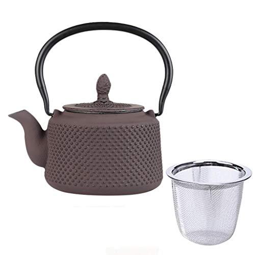 WHS Braune Hobnail-Teekanne, Tetsubin-Teekessel im japanischen Stil, herausnehmbarer Aufguss mit 5 Tassen und Einer Kapazität von 23 Unzen für Kräutertee/losen Tee (5 Tassen Unzen)
