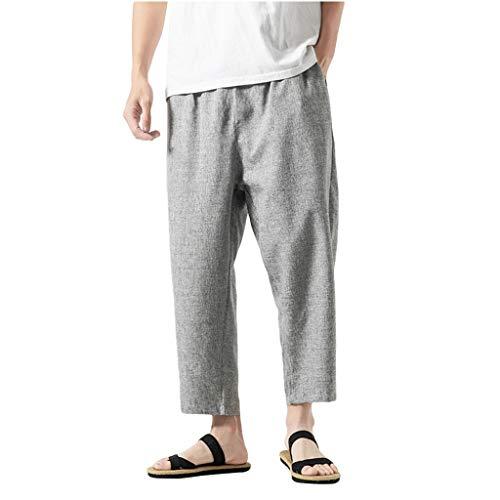 Pantaloni Lino Uomo Slim Fit Pantaloni Uomo Estivi Leggeri Cotone Pantaloni Tuta Uomo Leggeri Pantaloni Uomo Neri
