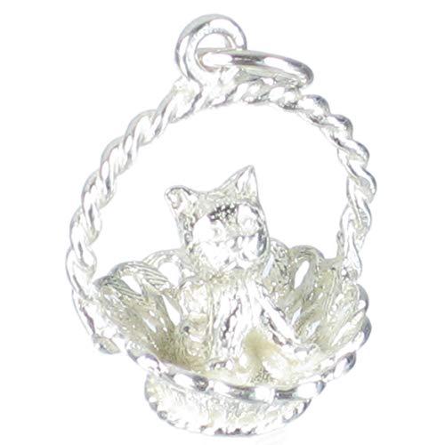 Kätzchen in einen Korb Sterlingsilber Charm .925 x 1 Kätzchen Katzen Anhänger bj1006 -