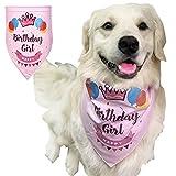 YianBestja Verstellbar und Waschbar Haustier Bandana, Niedlich Hund Bandana Dreieckstuch Lätzchen Halstuch Schal Halsband für Katze Hunde (Happy Birthday-Girl)