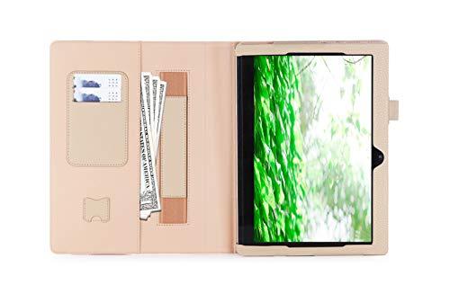 ISIN Tablet Fall Serie Premium PU-Leder Schutzhülle für Lenovo Ideapad MIIX 320 10,1 Zoll Windows 10 Convertible 2 in 1 Tablet PC mit Handschlaufe und Kartenschlitz (Gold)