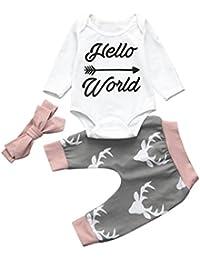 Kobay Kid Weihnachten Neugeborenes Baby Strampler Bodysuit + Hosen Haarband Kleidung Outfits Set