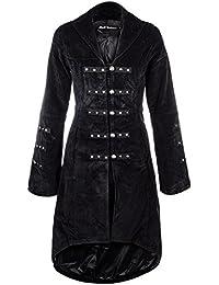 H&R Cord Long Manteau Effet Velours Gothique (Noir)