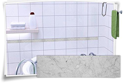 Fliesenaufkleber Fliesenbordüre Bordüre Fliesen Granit Mramor Kachel Aufkleber, 12 Stück, 10x2,6cm (BxH)