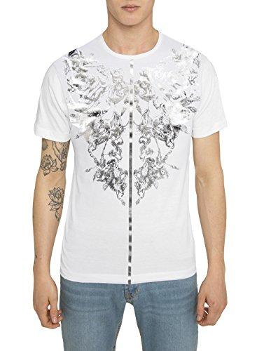 Herren Designer Fashion Vintage Rock Style Shirts, T Shirt mit Print - SCORPION - 100% Baumwolle, wunderschön gedruckt mit metallic Silber - Folie auf schwarzem Druck und Gold - Folie auf weißem Druck (Print Animal Top Folie)