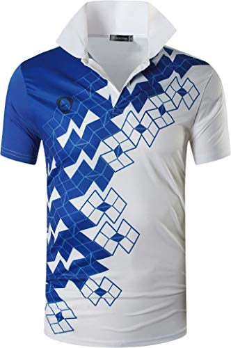 jeansian Herren Summer Sportswear Wicking Breathable Short Sleeve Quick Dry Polo T-Shirts Wicking Breathable Running Training Sports Tee Tops LSL224 White L