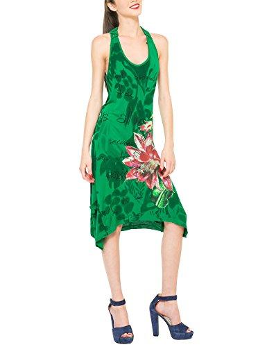 Desigual Roula - Robe - Trapèze - Imprimé - Sans manche - Femme Vert (Antique Green)