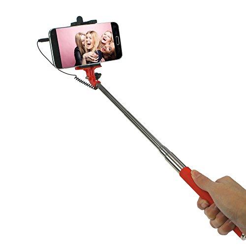 STYLETEC ausziehbare Selfie Stange / Stick / Stab mit Handschlaufe | Selfiestange | Selfiestab | Selfiestick - Kabelsteuerung (rot)