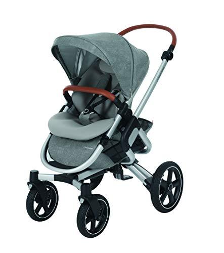 Maxi-Cosi Nova 4-Rad Kombi-Kinderwagen, automatisch klappbar, nutzbar ab der Geburt mit Babyschale oder Babywanne Oria bis circa 3,5 Jahre, komfortabel für Stadt und Land, Nomad grey