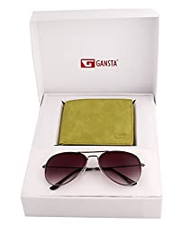 Gansta mens gift set of grey lens aviator sunglasses & 2 partion green wallet