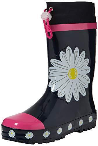Playshoes girls wellies daisies, stivali di gomma unisex-bambini, (marine/pink 372), 24/25 eu