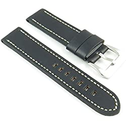 StrapsCo Thick Black Leather Watch Strap with White Stitching size 26mm