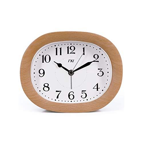 Lily Stiller Wecker Einfache Ulme Wecker - Vintage Watch Clock Oval Design Snooze Funktion Alarm Gesichtslicht - C Original Holz Qualität Multifunktional (Alarm Clock Radio Für Teenager-mädchen)