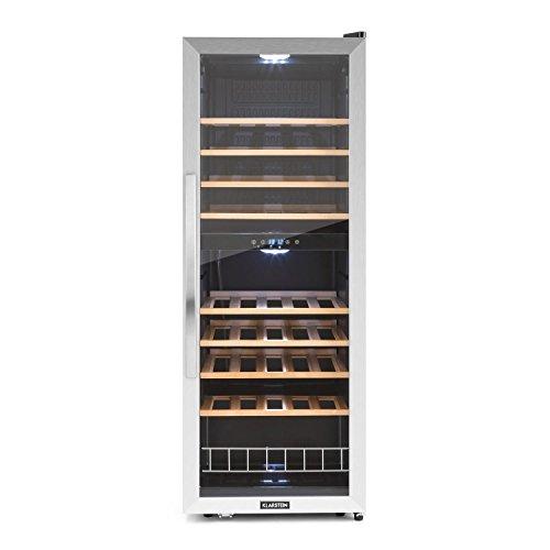 Klarstein Vinamour 54D • cave à vin • réfrigératuer à boissons • réfrigérateur gastronomique • 2 zones • 148 litres • 54 bouteilles • 8 étagères en bois • éclairage LED • très silencieux • noir-argent