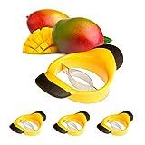 4 x Mangoschneider, Mango teilen & entkernen, rutschfester Griff, Edelstahl-Klinge, Mango Slicer, schwarz-gelb