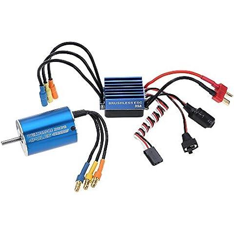 Goolsky 2838 4500KV 4P Sensorless Brushless Motor & 35A ESC Brushless elettronico regolatore per 1 1/14/16 1/18 auto RC - Throttle Interno