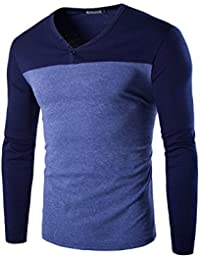 sourcingmap®Homme Encolure en V Blocs de Couleur Bouton Haut Manches Longues T-shirt