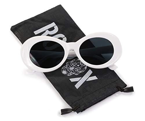 Ro Rox Damen Herren Kurt Cobain Retro Clout Sonnenbrille - Schwarz - Weiß