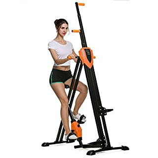 ANCHEER Vertical Climber 2 IN 1 Folding Exercise Fitness Climbing Machine, Exercise Bike for Home Body Trainer (Orange)