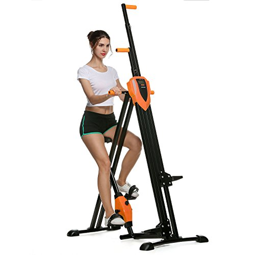 Coorun Sportstech innovativer 2in1 Stepper & Vertical Climber Fitness - Klettern - Kletterbewegungen, klappbar, multifunktional VC300 mit Anti-Rutsch Design & Faltsystem - ideal für HIIT & Ganzkörpertraining (Orange)