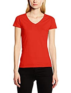 Fruit of the Loom Women's V-Neck Valueweight T-Shirt, Red, 8 (Manufacturer Size:X-Small) by Fruit Of The Loom