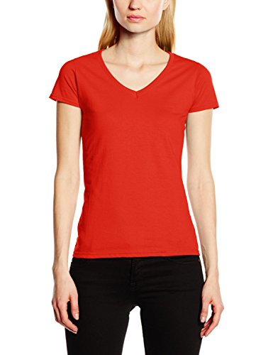 Fruit of the Loom Damen T-Shirt Valueweight V-Neck T Lady-Fit 61-398-0 Red S - 17 Womens V-neck T-shirt