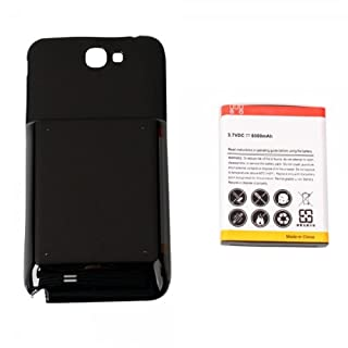 6500mAh Extended Battery with Black Cover for Samsung Galaxy Note 2 / N7100