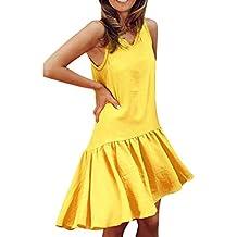 buy online 49164 f8967 abbigliamento donna abiti corti - Giallo - Amazon.it