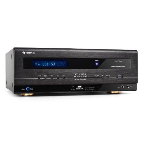 auna AV-4800 ricevitore amplificatore digitale surround (potenza 390 Watt RMS, ingresso SD e USB, riproduzione MP3, 2 ingressi microfono, ricevitore radio digitale) - nero