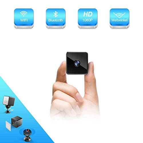 Bluetooth WLAN Mini Kamera, MHDYT HD 1080PWiFi Akku Überwachungskamera, KleineNanny Cam mitBewegungsmelder, InfrarotNachtsichtundBluetooth Lautsprecher, Mikro Wireless Innen/AussenIP Kamera (Spion-kameras)