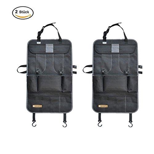 Preisvergleich Produktbild Auto-Rückenlehnenschutz -2 Stück, Feavor Auto Organizer Rückenlehnen-Tasche, Trittschutz mit Rücksitz-Organize, Rücksitzschoner, Kick-Matten-Schutz für den Autositz mit durchsichtigem