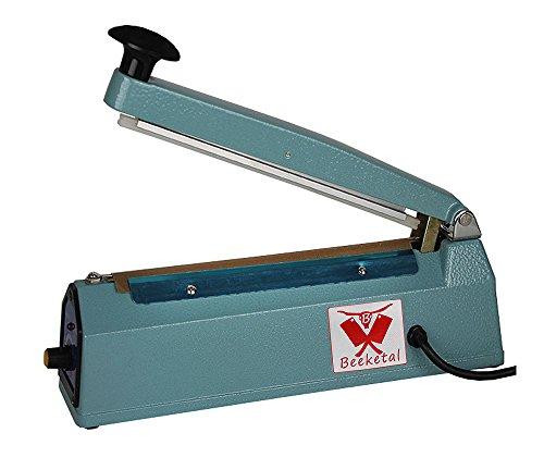 Beeketal \'BP200FS\' Profi Impuls Tisch Schweißgerät (keine Aufwärmzeit) mit 200 mm Schweißlänge und 8 mm Schweißbreite, Folien Schweißzeit von 1-8 Sek, Balkenschweißgerät mit Gusseisen Gehäuse