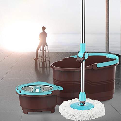 GAOJIN 360º Set de Limpieza para el hogar, Cubo con Pedal y fregona de Microfibra,Palo telescópico giratoria sin Pedal, Doble Sistema de Centrifugado, 2 mopas