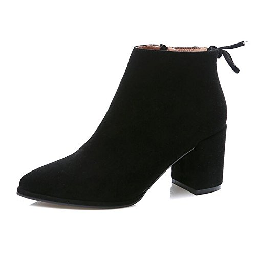 HSXZ Scarpe donna Nabuck Pelle di vacchetta Autunno Inverno Comfort moda Stivali Stivali tacco Chunky Babbucce/stivaletti di abbigliamento casual Nero Grigio Gray