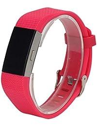 Scpink para Fitbit Charge 2 Strap, Soft Silicone Sports Fitness Banda de reemplazo Gel de sílice Correa Ajustable para Fitbit Charge 2 (Rosa Caliente)