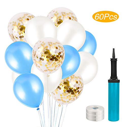 tballons Blau 60 Stück Latex Party Luftballons,Hochzeit Ballons Geburtstag Dekorationen für Party Geburtstags Weihnachten, Hochzeit in 3 Farben (Blau) ()