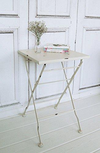 Beistelltisch MAISON, vintage Metall-Klapptisch im Shabby chic weiß - Wohnzimmer Metall Klapptisch