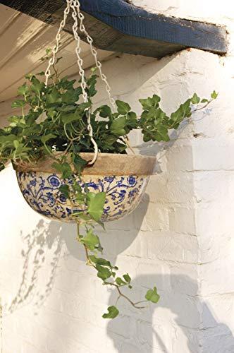 Esschert Design Hängekorb, krakelierte Keramik in Barockstil, Ø 26 cm, ca 1200 ml, Kette ca. 45 cm lang, Blumenampel/Blumenschale in blau-weiß