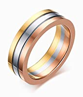Vnox 6mm Women's Stainless Steel 3 Tone Stacking Wedding Engagement Band Ring Silver Gold Rose,Size N 1/2
