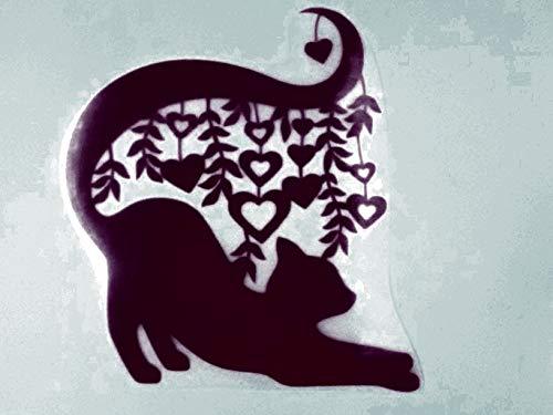 Bügelbild, Motiv: Katze mit Herzen, Größe: 18x20cm, Farbe: dunkelrot, heißsiegelfähige Flockfolie auf Basis von Viskosefasern - Dunkelrot Farbe