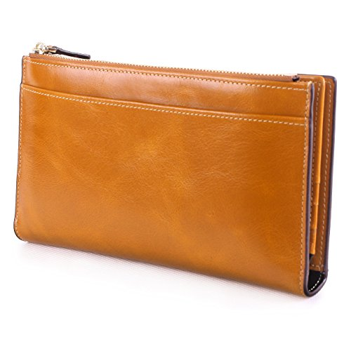 S-ZONE Women's Soft Genuine Leather Trifold Long Wallet Ultra-thin design Slim Large Capacity Oil Wax Cowhide Card Case Clutch Purse Clutch Bag Compact Card Holder with Zipper Pocket and Photo Slot.