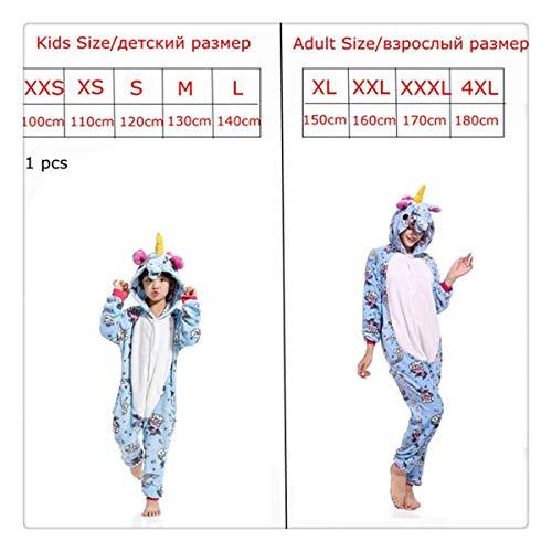 (Pink Unicorn Pajamas Sets Flannel Kids Animal Pajamas Winter Nightwear Zipper Sleepwear for Women Men Adults Halloween lightblue XXL)