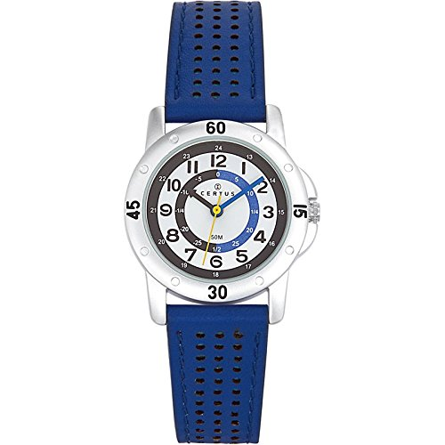 Certus 647495 Unisex Watch, Analogue Quartz, White Dial, Blue Leather Strap