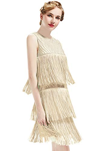 Lange Flapper Kleid - ArtiDeco 1920s Charleston Kleid Damen Knielang