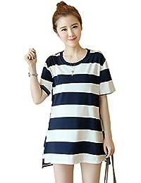 afc7739baa4b BOZEVON moda strisce da donna a maniche lunghe Premaman allattamento al  seno Vestito T-shirt