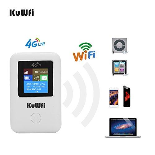 Mobiler Wifi WLAN-Router, KuWFi Travel Partner 150Mbps 4G Lte Wifi Router Mobile Hotspot Auto Mini Wi Fi Mini Wireless Pocket 4G 3G Wi-Fi Router mit Sim Card Slot Arbeit mit B1 / B3 Netzwerk