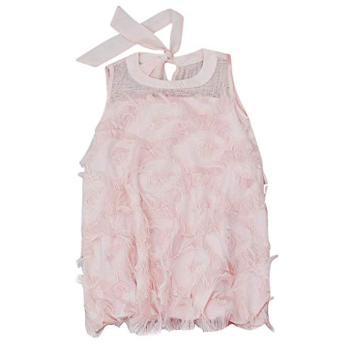 hahashop2 Baby Kinder Mädchen A-Linie Ärmellos Blumenmädchenkleid Partykleid Spitzen Lace Kleider Party Rock Prinzessin Festzug Kleider(2Y-8Y)