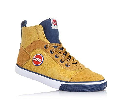COLMAR - Sneaker à lacets ocre et bleu foncé en polyuréthane et suède, avec fermeture, garçon, garçons